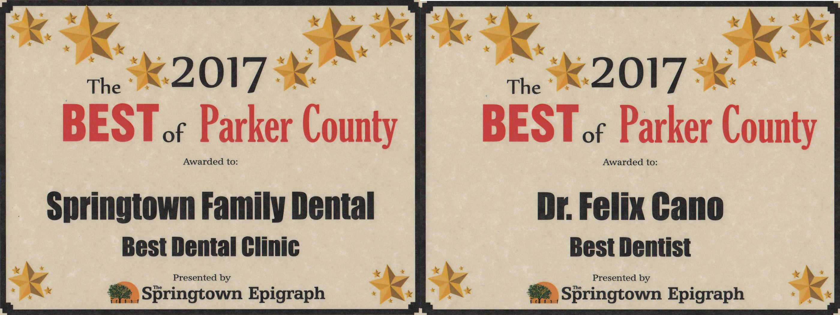 2017 Best of Awards: Springtown Family Dental Voted BEST Dental Clinic and BEST Dentist!